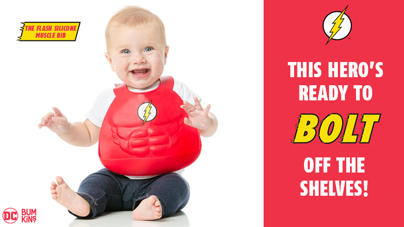 the Flash silicone muscle bib from DC Comics by Bumkins