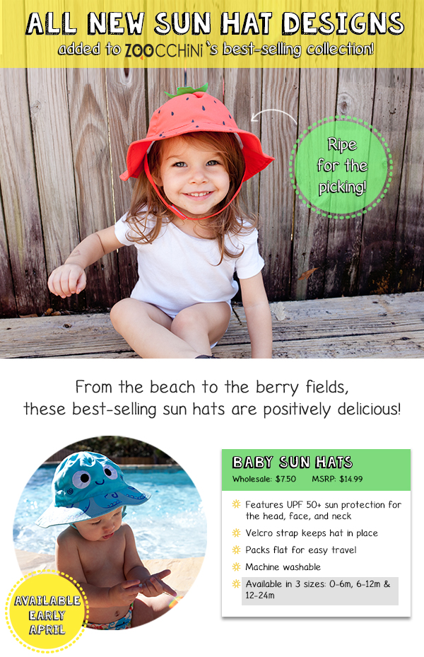 Zoocchini adding new designs to their best-selling sun hat ... a75bde37be22